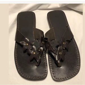 Sz 8 GAP Brown Leather Flip Flop Sandals NEW